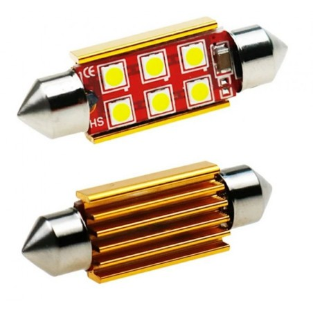 C5W CANBUS FESTOON 6 LED 3030 SMD 39 MM DISIPADOR