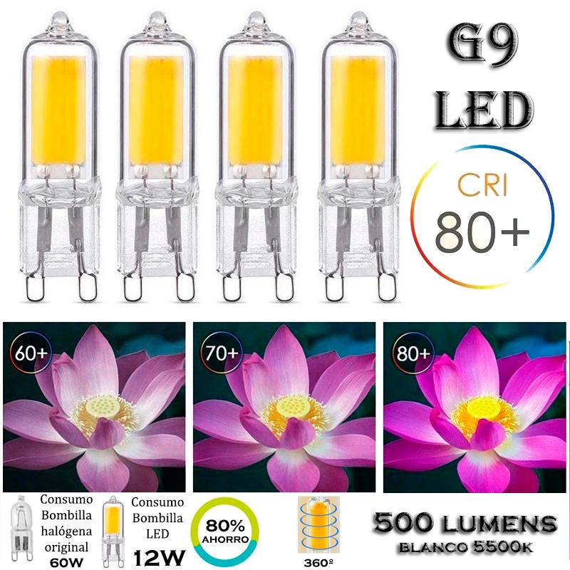 4x Bombillas G9 cob LED vidreo 12W 500 lumens